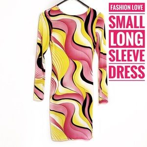 Small Long Sleeve Stretch Dress Pink/Yellow/Black